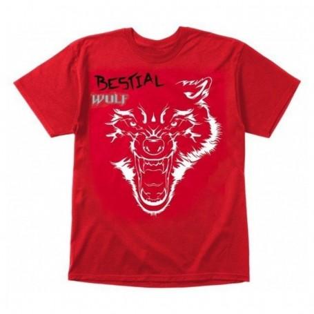 Bestial Wolf Camiseta Roja Bw Lobo Blanco