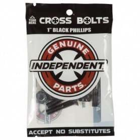 """Independent Croos Bolts 1"""" Black Phillips"""